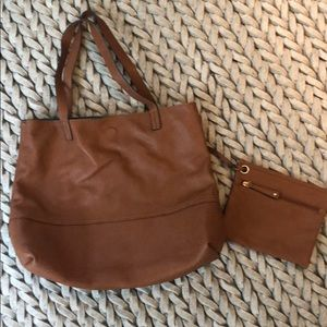 Leather & Green Reversible Bag w. Attachable Pouch